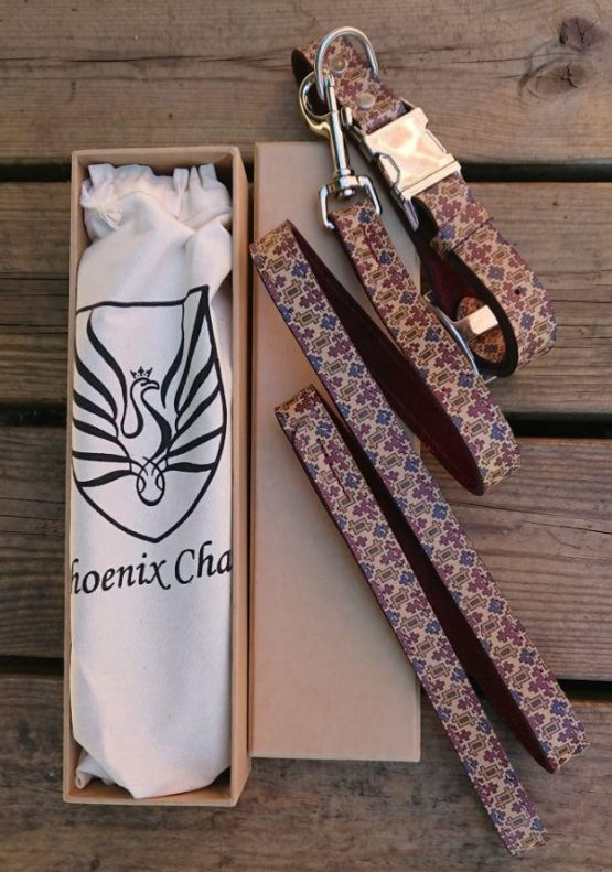 HANDCRAFTED MOTIF PATTERN PREMIUM SOFT LEATHER DOG COLLAR & LEAD SET