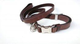 Handcrafted Premium Soft Leather Dog Collar & Lead Set dark brown